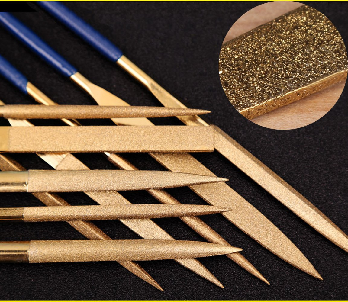Juego de archivos de aguja de diamante revestido de titanio de 10 piezas para trasdos de guitarra Madera y plá stico de metal blando (140 mm, Glod) DS-Space