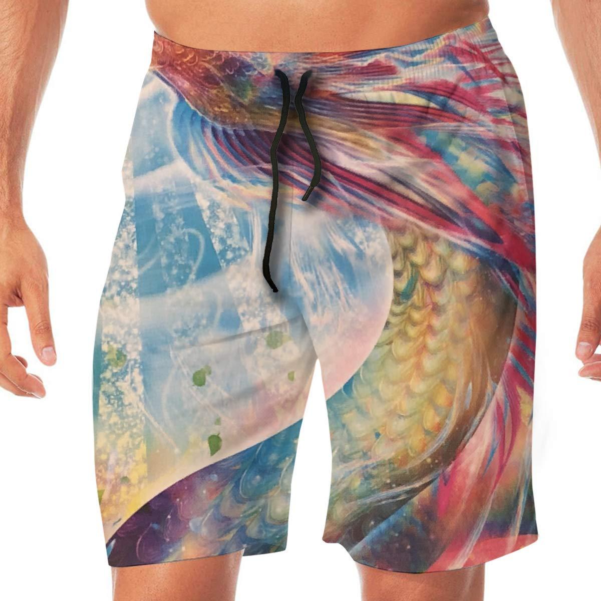 HFSST Rainbow Dragon Shining in The Sun Men Kid Male Summer Swimming Pockets Trunks Beachwear Asual Shorts Pants Mesh
