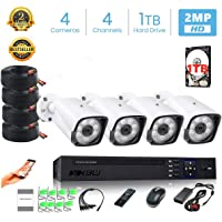 XBW 4Channel CCTV security Kit 1080P/2.0MP 1920X1080 Camera 4CH Surveillance DVR kit with 8pcs 2.0mp 1080P Metal Outdoor Bullet Camera Alarm System&P2P Home Security With 1TB Hard Disk