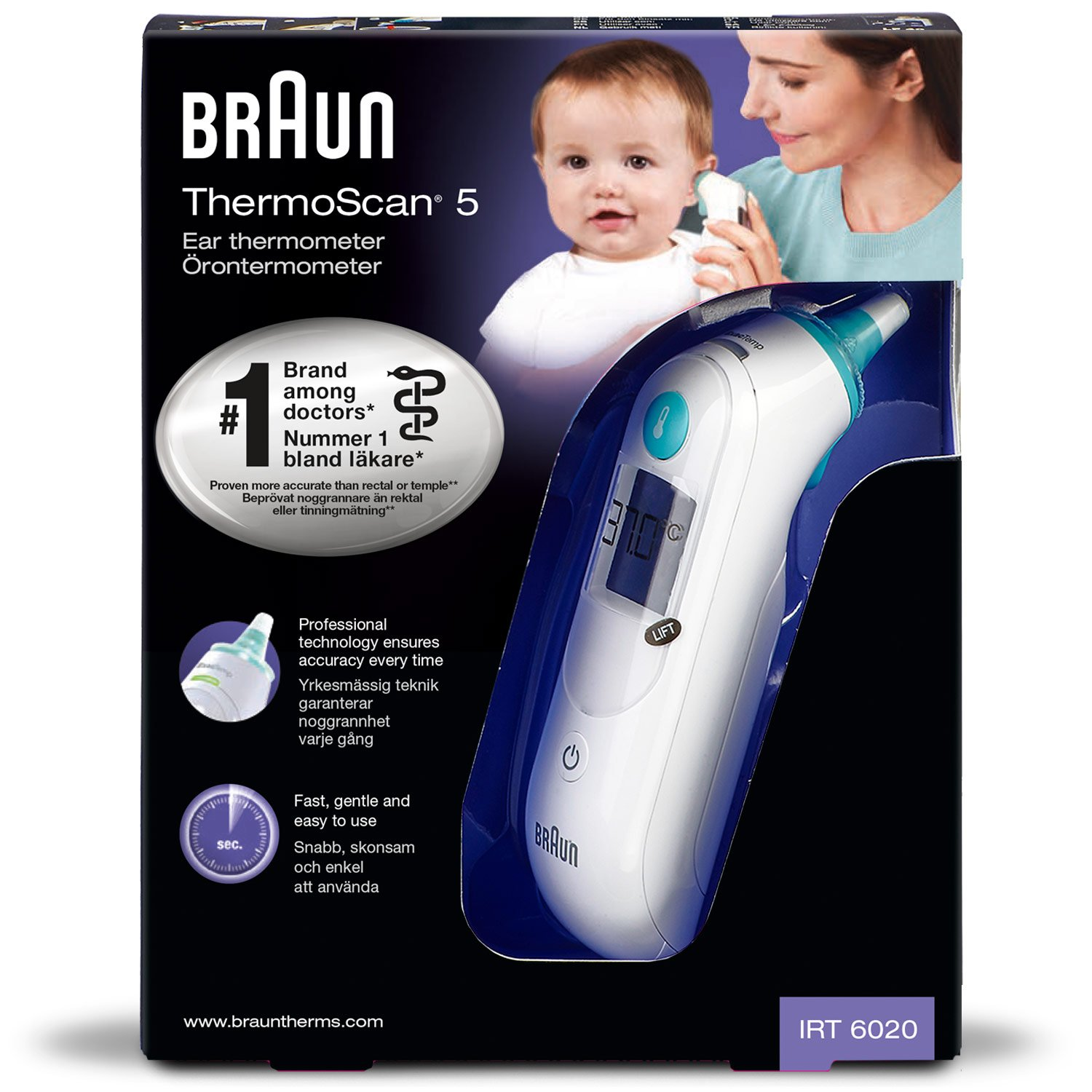 Braun Irt6020 Thermoscan 5 Ear Thermometer Temperature Check Kids