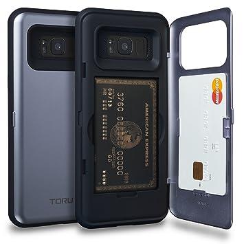 TORU CX Pro Funda Galaxy S8 Plus Carcasa Cartera Azul con Tarjetero Oculto y Espejo para Samsung Galaxy S8 Plus - Orquídea Gris