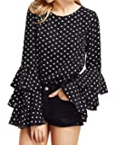 Kyerivs Women's Blouses Ruffled Flounce Long Sleeve Elegant Tee Tops Casual Shirts