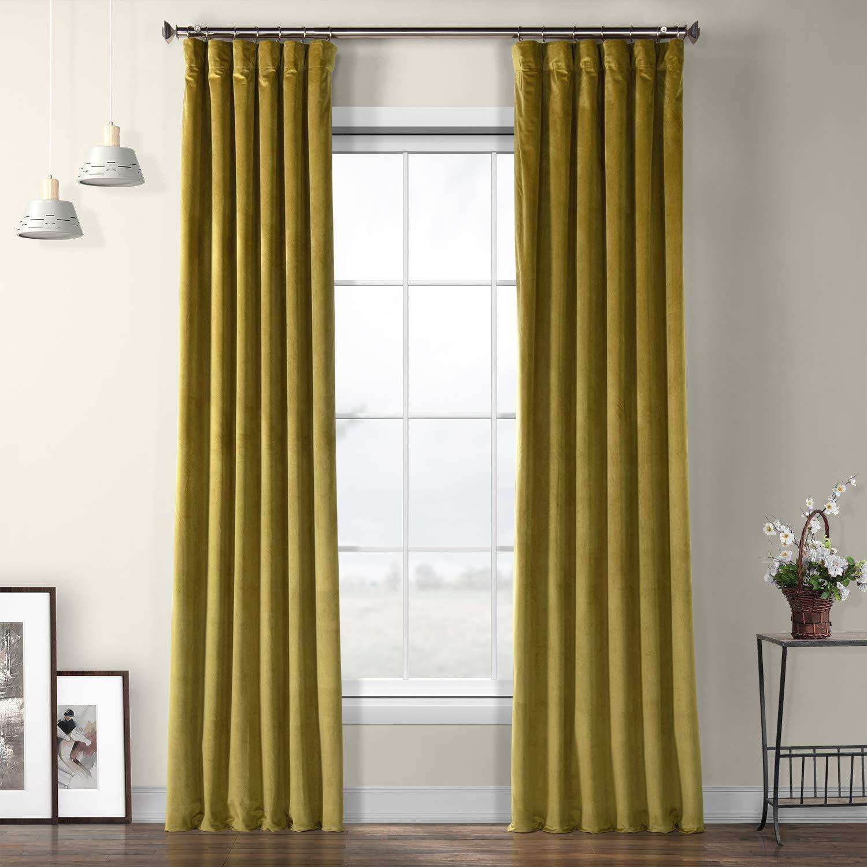 HPD Half Price Drapes VPYC-179911-96 Heritage Plush Velvet Curtain (1 Panel), 50 X 96, Peat Green