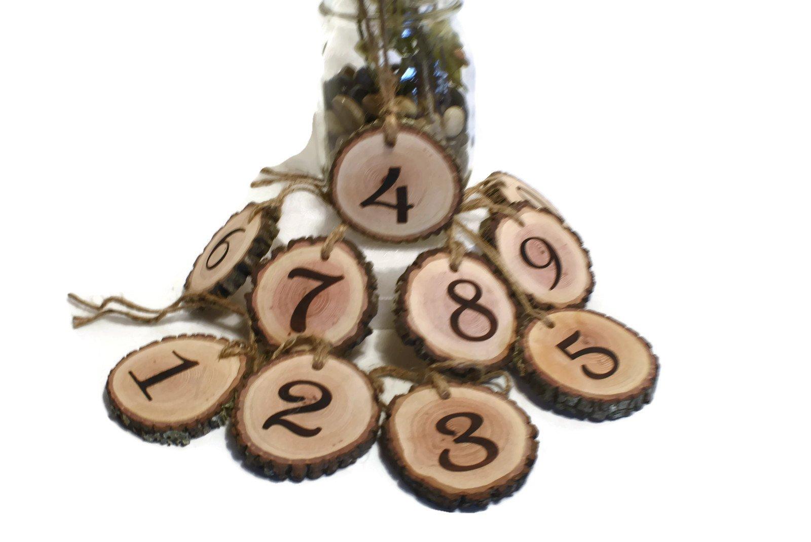Rustic Wedding Hanging Table Numbers Wood slice, Event Cordinators, Corporate parties, Graduations, Birthdays, Basptimal, Bridal shower, Baby shower (20)