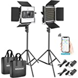 Neewer 2 Packs 528 LED Video Light, Metal Dimmable Bi-Color 3200K-5600K Photography Lighting Kit with APP Intelligent…