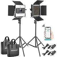 Neewer 2 Packs 528 LED Video Light, Metal Dimmable Bi-Color 3200K-5600K Photography Lighting Kit with APP Intelligent…