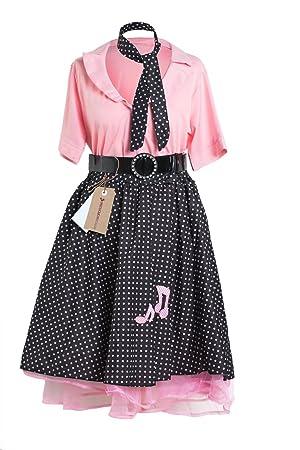 Emmas Wardrobe de 1950 Rock and Roll Señoras Disfraz Incluye Lunar ...