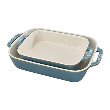 Staub 40511-924 Ceramics Rectangular Baking Dish Set, 2-piece, Rustic Turquoise