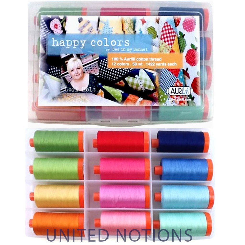 Aurifil Cotton Thread Collection ''Happy Colors'' by Lori Holt