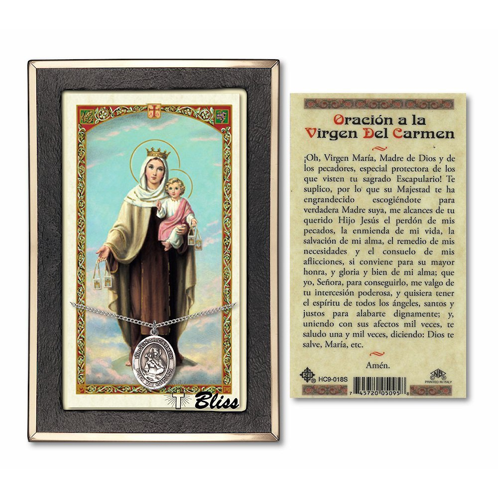 Carmel Prayer Card Bonyak Jewelry Pewter Our Lady of Mount Carmel on a 24 inch Curb Chain with a Prayer to Our Lady of Mt