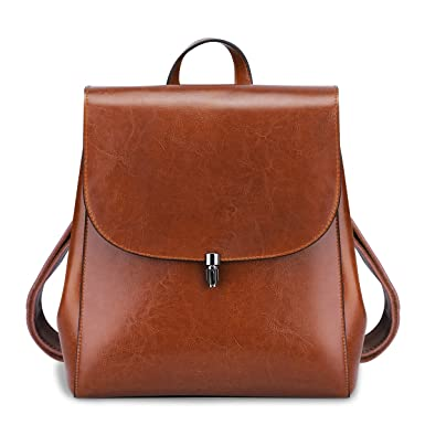 Amazon.com: S-ZONE Genuine Leather Backpack Purse Daily Casual ...