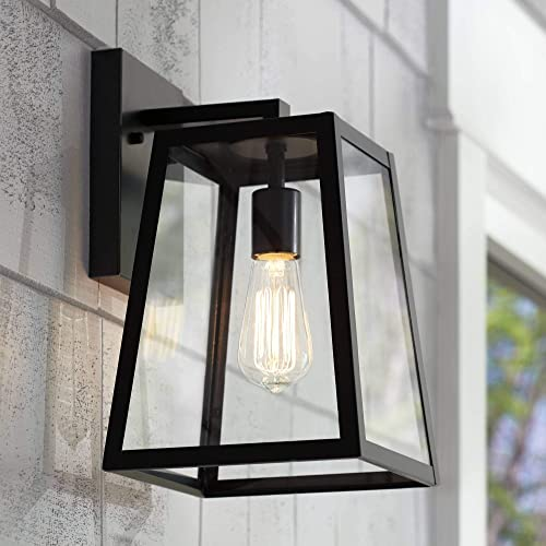 Arrington Modern Outdoor Wall Light Fixture Black 13″ Clear Glass Antique Edison Style Bulb