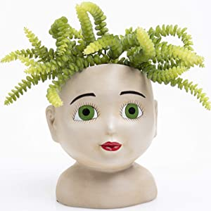Head Planter Pot – Face Planters for Indoor and Outdoor Plants – Unique Garden Planters – Resin Succulent Face Planter for Succulents – Open Green Eyes Female Head Planter – Unusual Pots for Plants