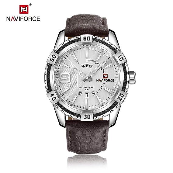 680a9ed812c0 Diseño de Moda Marca de Lujo para Hombres Relojes Deportivos de Cuero  Genuino Casual Dial Redondo Reloj Militar del ejército  Amazon.es  Relojes