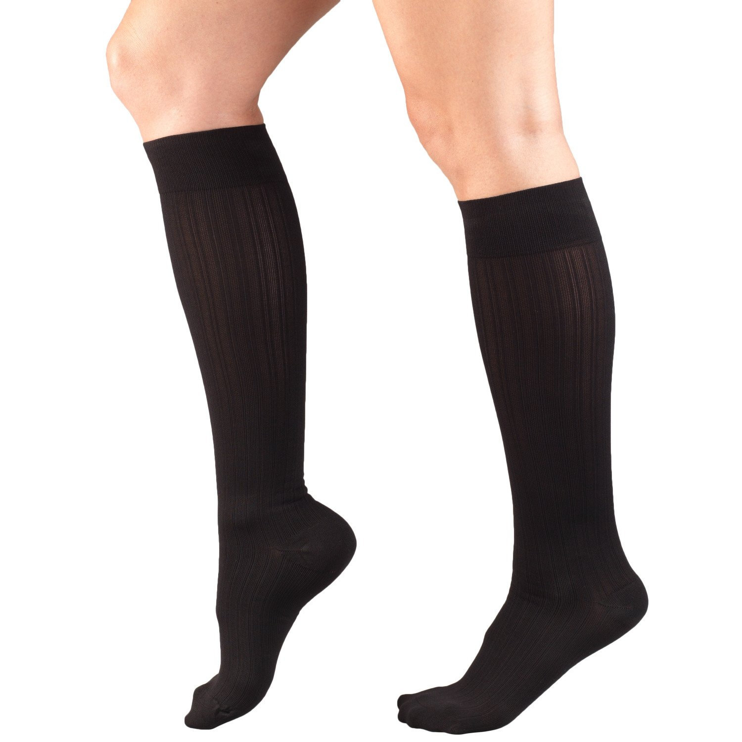 Amazon.com: Truform 1973 Womens Fit Compression Socks, Rib Knit Pattern, 15-20 mmHg, Black, Small (Pack of 2): Health & Personal Care