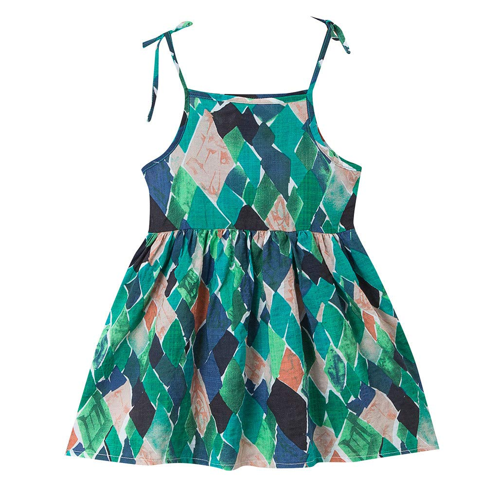 Kingspinner Girls Sundress Summer Sleeveless Floral Print Strap Princess Dress Beachwear Holiday Dress (Green, 12-18Months)