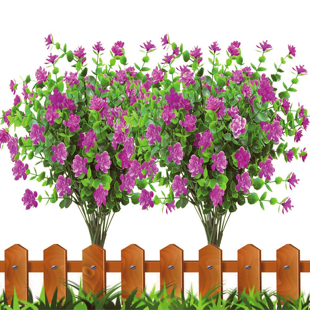 zimeng 8Pcs Artificial Flowers Fake Outdoor UV Resistant Plants Faux Plastic Greenery Shrubs Bushes Indoor Outside Hanging Planter Home Garden Window Box Office Wedding Decor (Red)