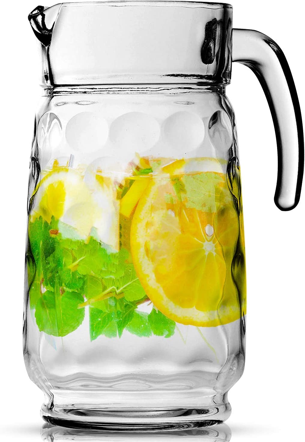 Glass Pitcher with Spout – 54 OZ. Elegant Glass Pitcher By Home Essentials and Beyond – Unique Elegant Serving Carafe for Water, Juice, Sangria and Cocktails.