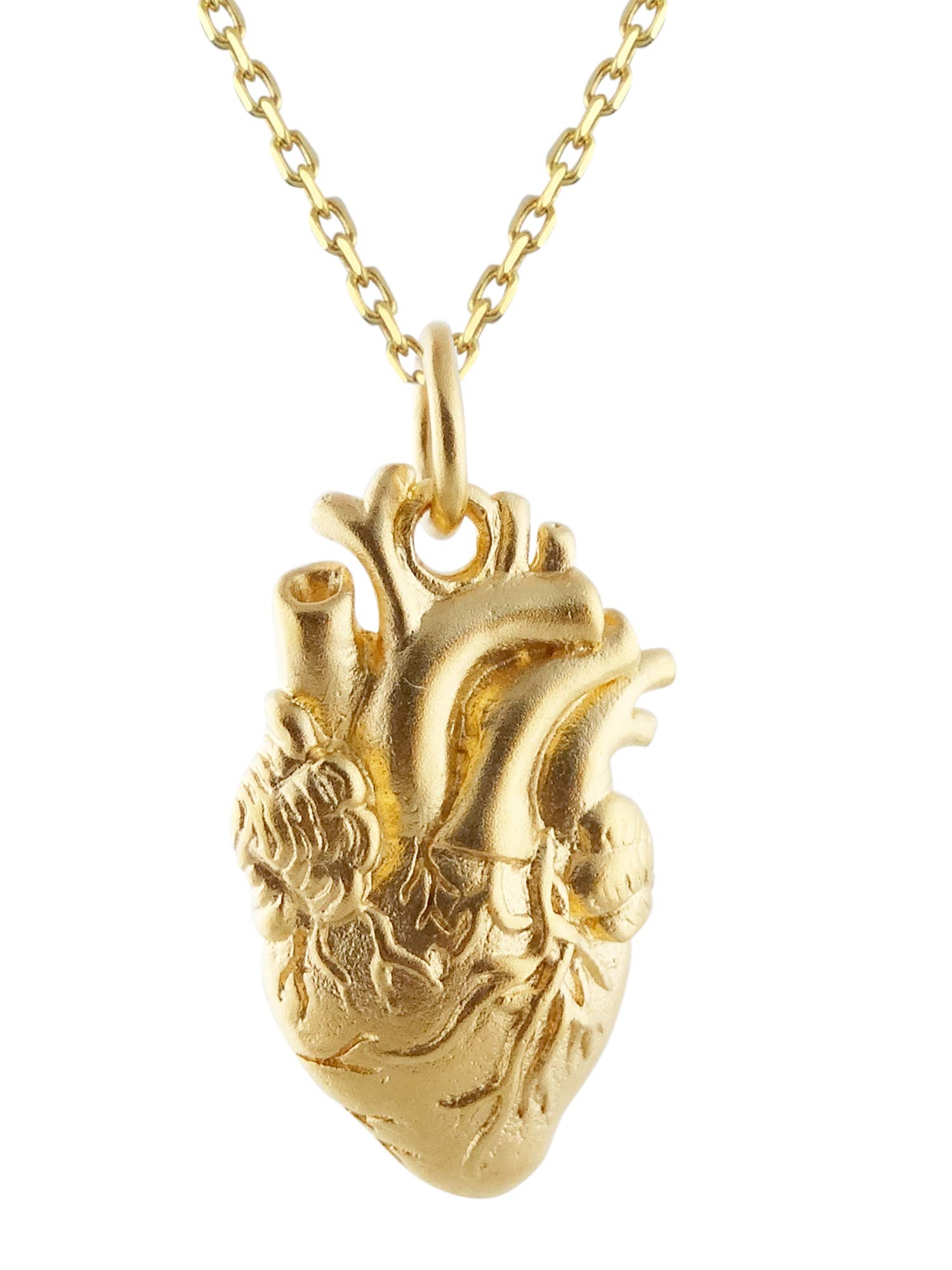 FashionJunkie4Life 24K Gold Plated Sterling Silver Anatomical Heart Charm Necklace, 18""