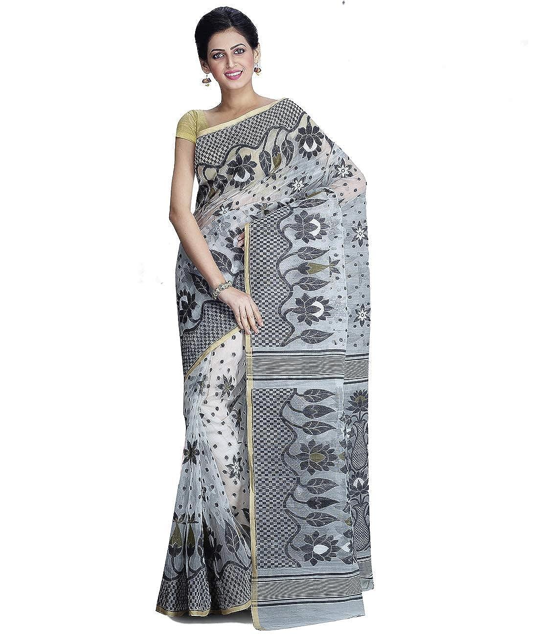 Maahir Garments Exclusive Dhakai Jamdani Grey and OffWhite Colour Handloom Saree
