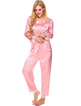 10d82d672ff Ekouaer Women s Christmas Pajama Set Sexy Lace Trim Satin Sleep Top ...