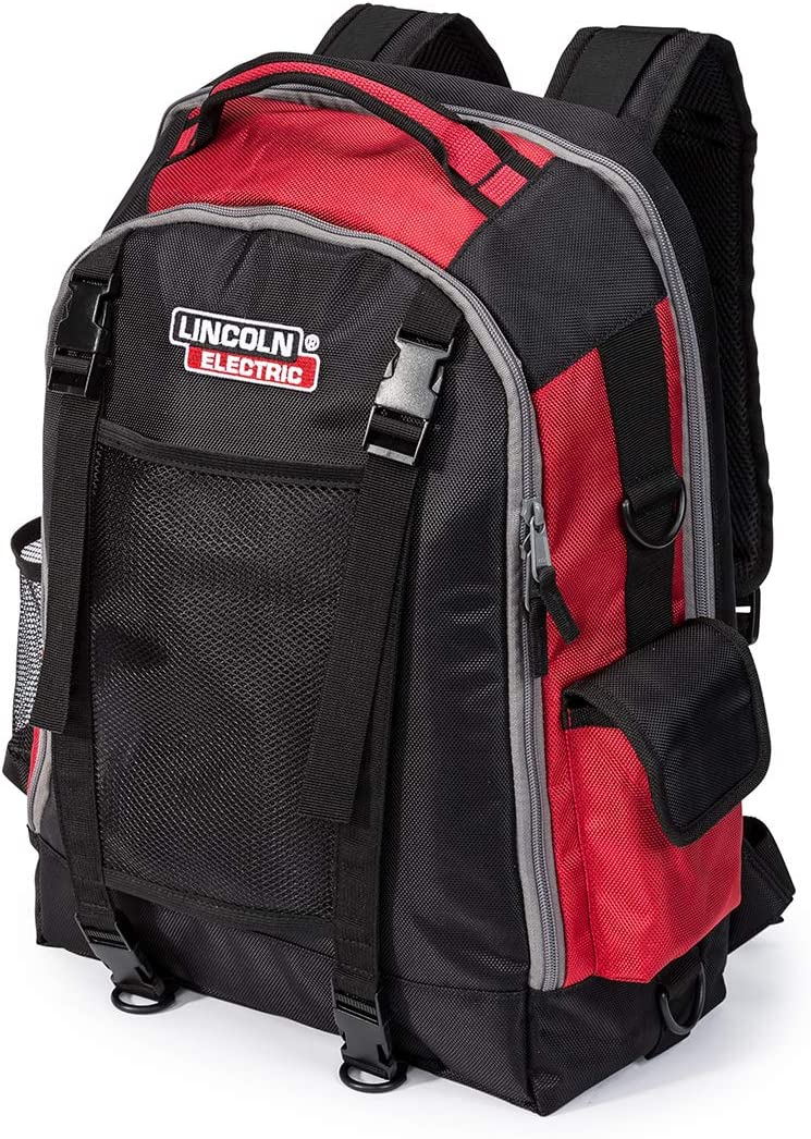 Lincoln Electric Welders All-in-One Backpack Tool, PPE and Electronics Storage Adjustable External Storage Net K3740-1