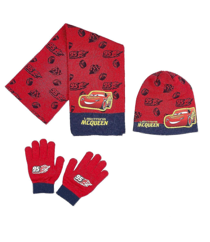 berretto e guanti Disney Cars Ragazzi Confezione da 3 pezzi sciarpa rosso