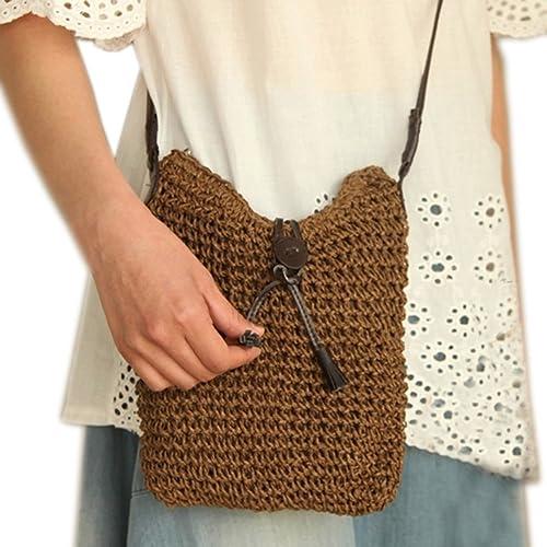 f8de3d2438840 Catkit Womens Crochet Summmer Holiday Beach Straw Handbag Boho Shoulder Bag  Brown