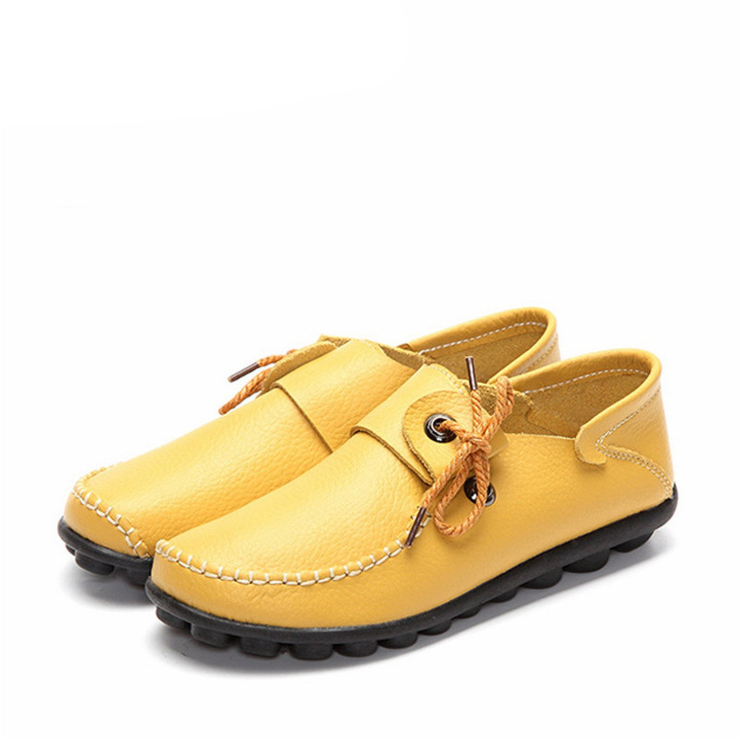 Mandaartins Womens Cow Leather Shoes Moccasins Flats Shoe Lace-up Driving Loafers