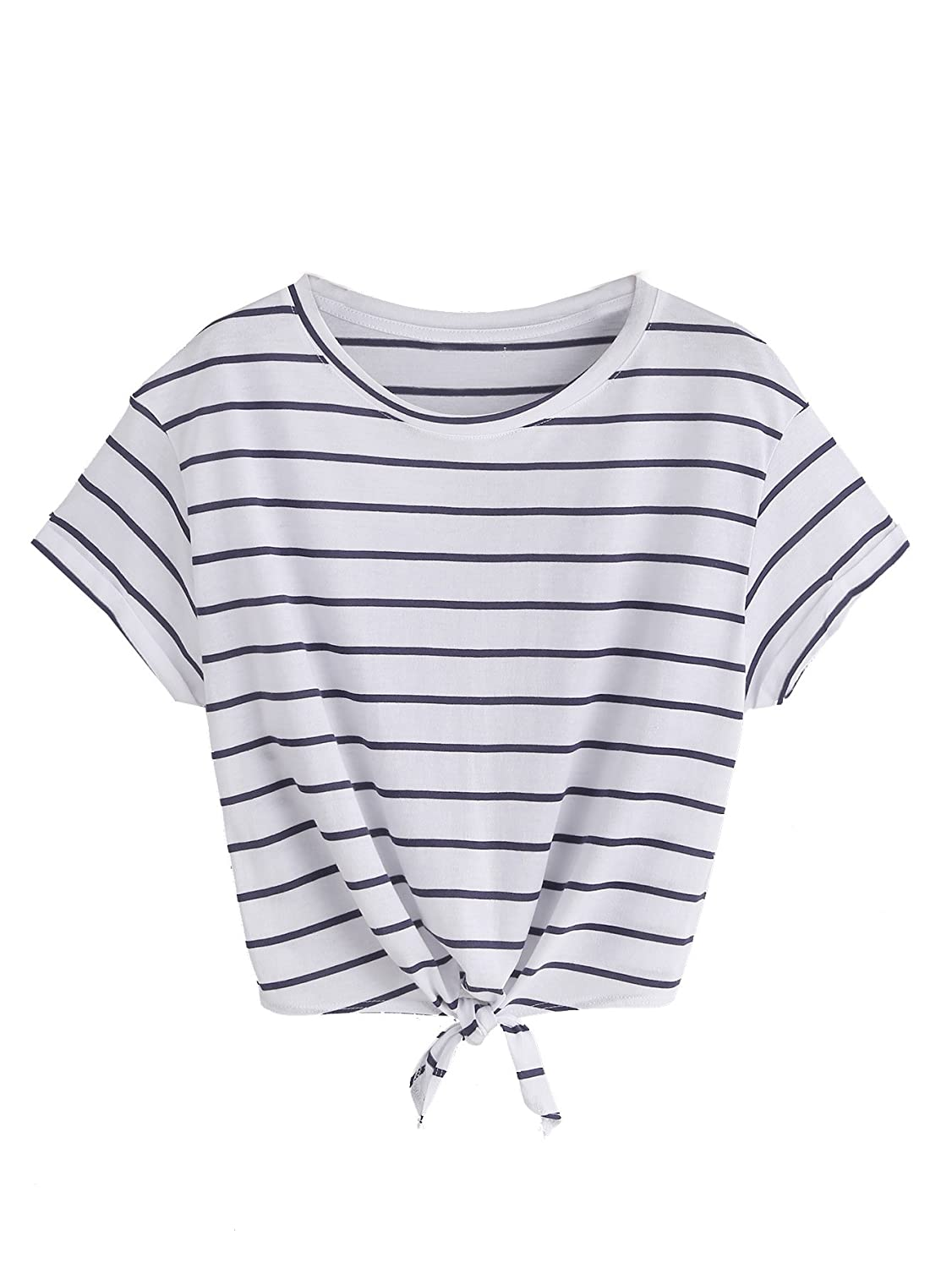 3e1668fc16 Romwe Women's Knot Front Cuffed Sleeve Striped Crop Top Tee T-Shirt at  Amazon Women's Clothing store: