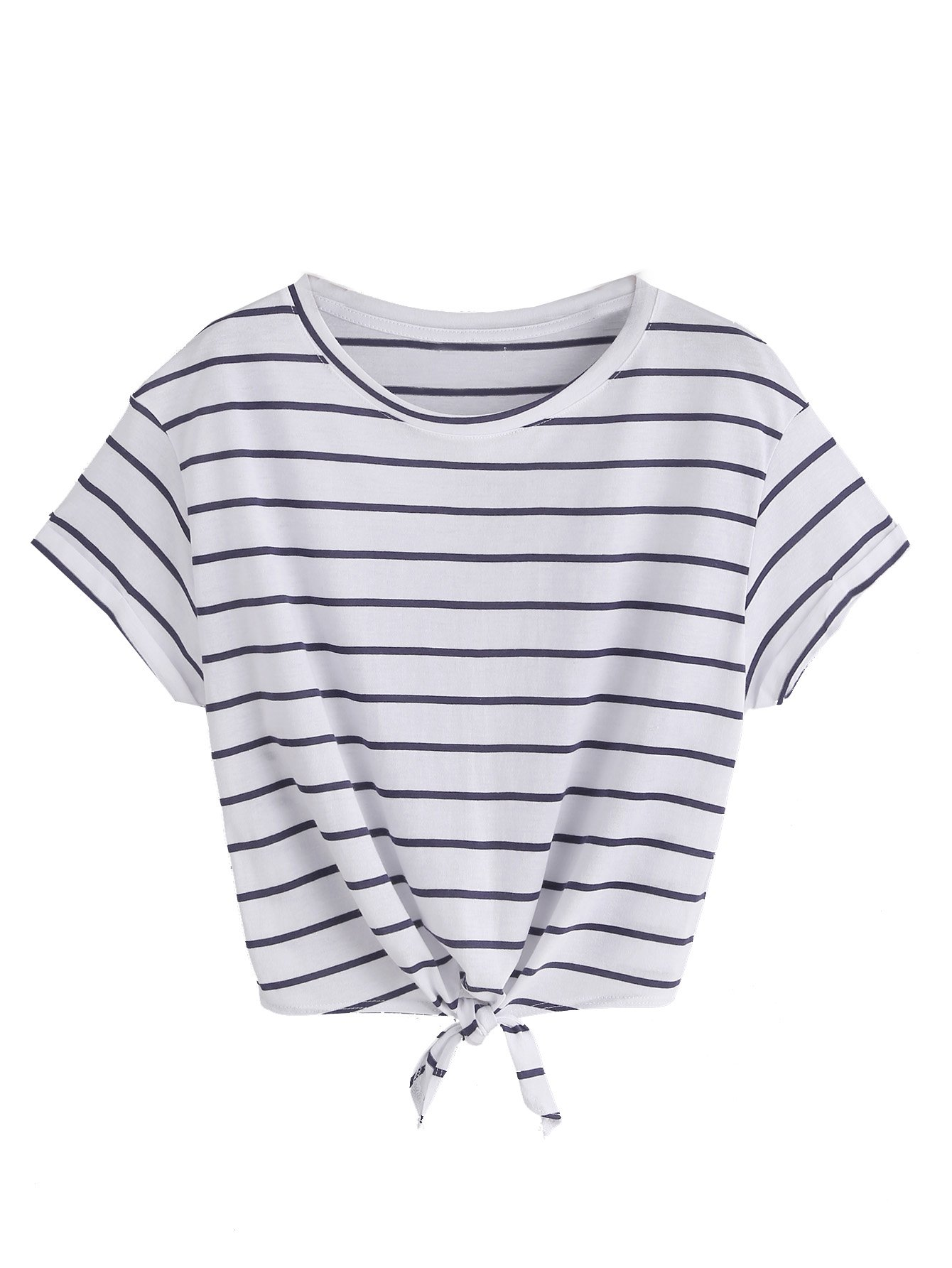 a5b8df755a4 Galleon - ROMWE Women's Knot Front Long Sleeve Striped Crop Top Tee T-shirt,  Blue & White, Large(US8-10)