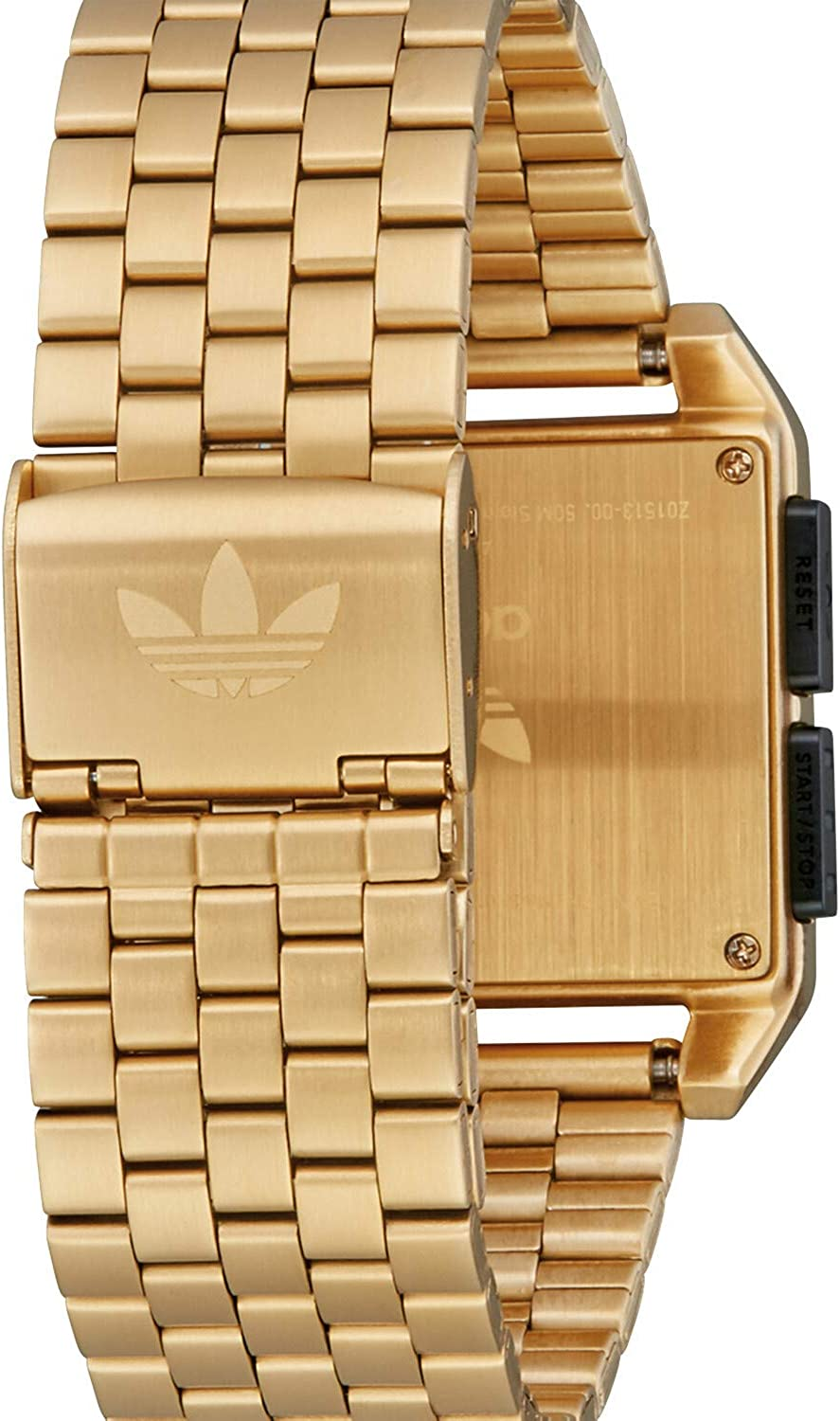 Adidas Watches Archive_M1. Men's 70's Style Stainless Steel Digital Watch with 5 Link Bracelet (36 mm). Gold/Black