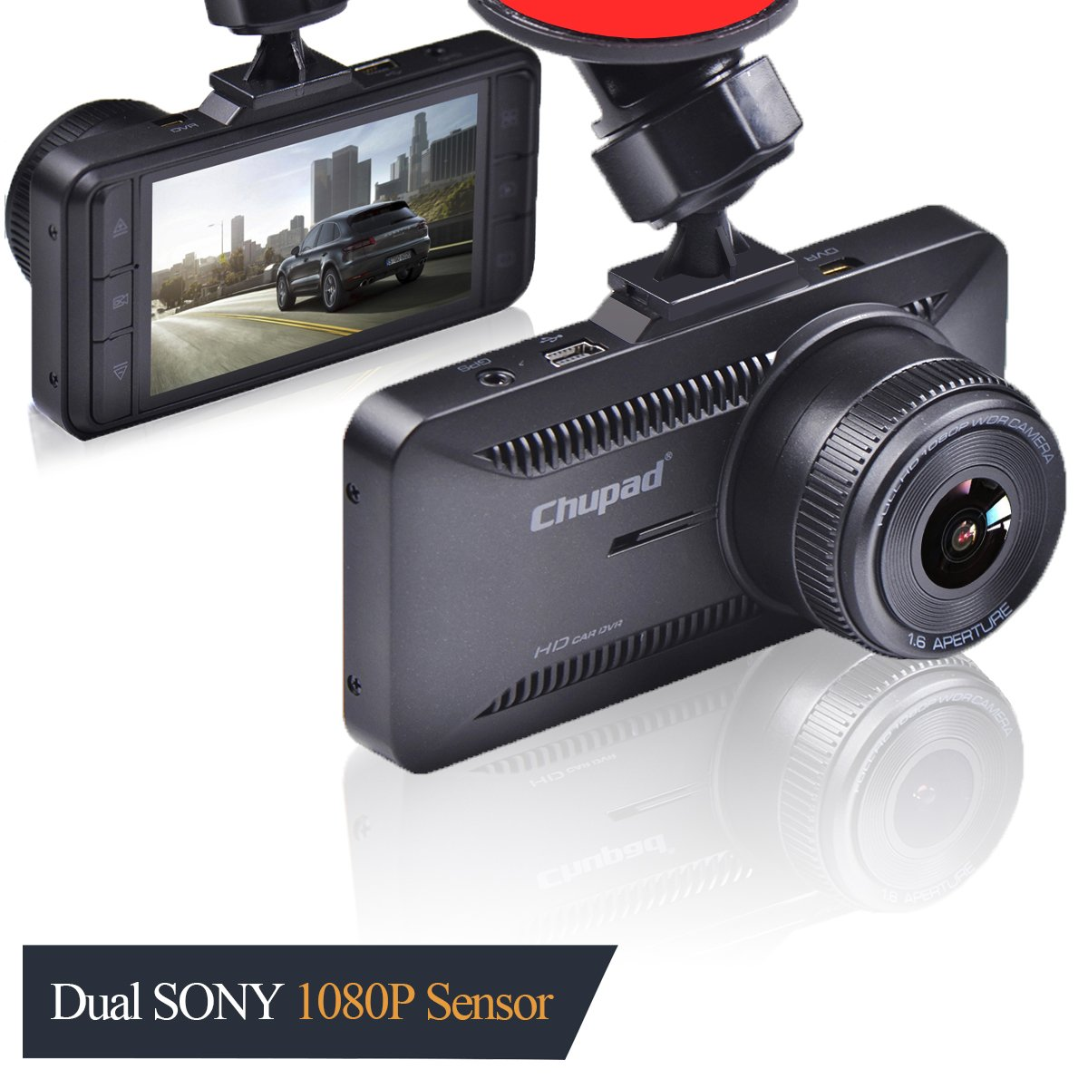 Chupad X16 Dash Cam 3.0 Inch LCD 1080P Front and Rear 1080P Camera Vehicle on Dash Video Recorder with Sony Video Sensor,GPS,G-Sensor,Night Vision,Parking Guard,Loop Recording