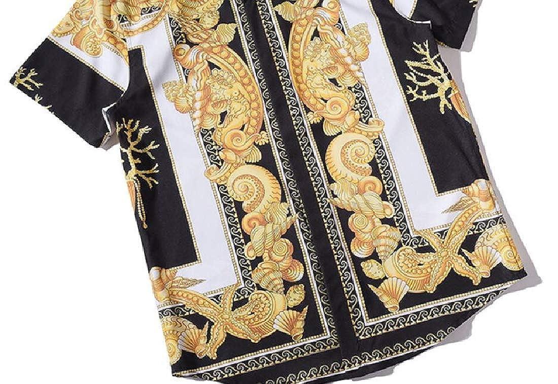 MMCP Mens Turn Down Collar Short Sleeve Floral Print Casual Retro Button Down Shirts Tops