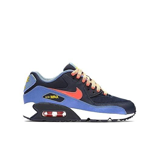 Nike Air Max 90 Mesh Kids Shoes Obsidian/Chalk Blue/Canary/Bright Mango