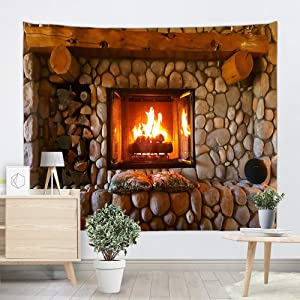 Sevendec Christmas Tapestry Wall Hanging Xmas Cobblestone Fireplace Wall Tapestry for Party Livingroom Bedroom Dorm Home Decor W59 x L51