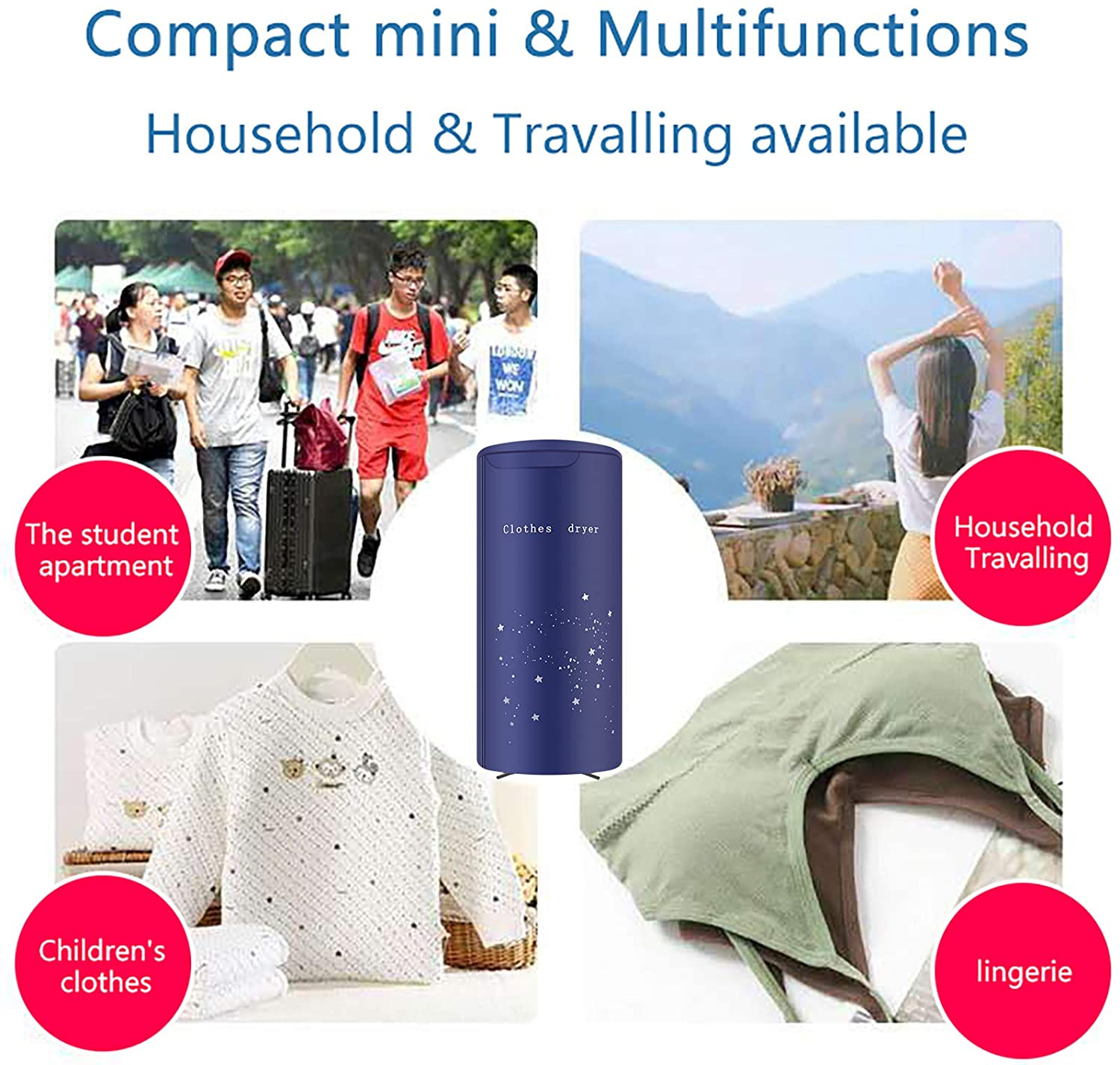 Portable Clothes Dryer Travel Mini 900W dryer machine,Portable dryer for apartments,New Generation Electric Clothes Drying