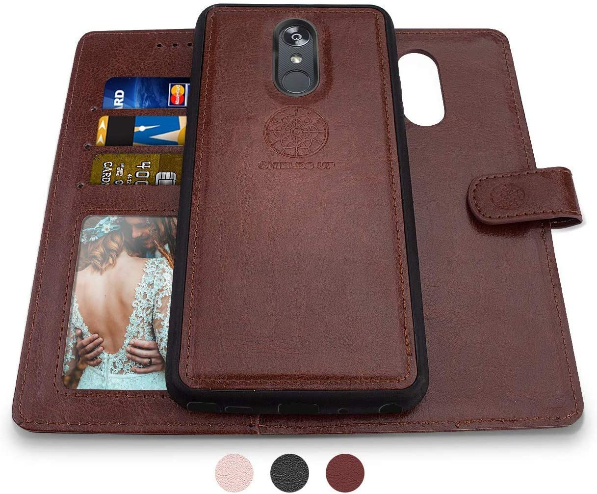 LG Aristo 2 Case, Aristo 3/Rebel 4 LTE/Aristo 2 Plus/Phoenix 4/Zone 4/Tribute Dynasty/Fortune 2/Risio 3/K8+2018 Plus Wallet Case, Shileds Up [Detachable] Magnetic [Vegan Leather] Case -Brown