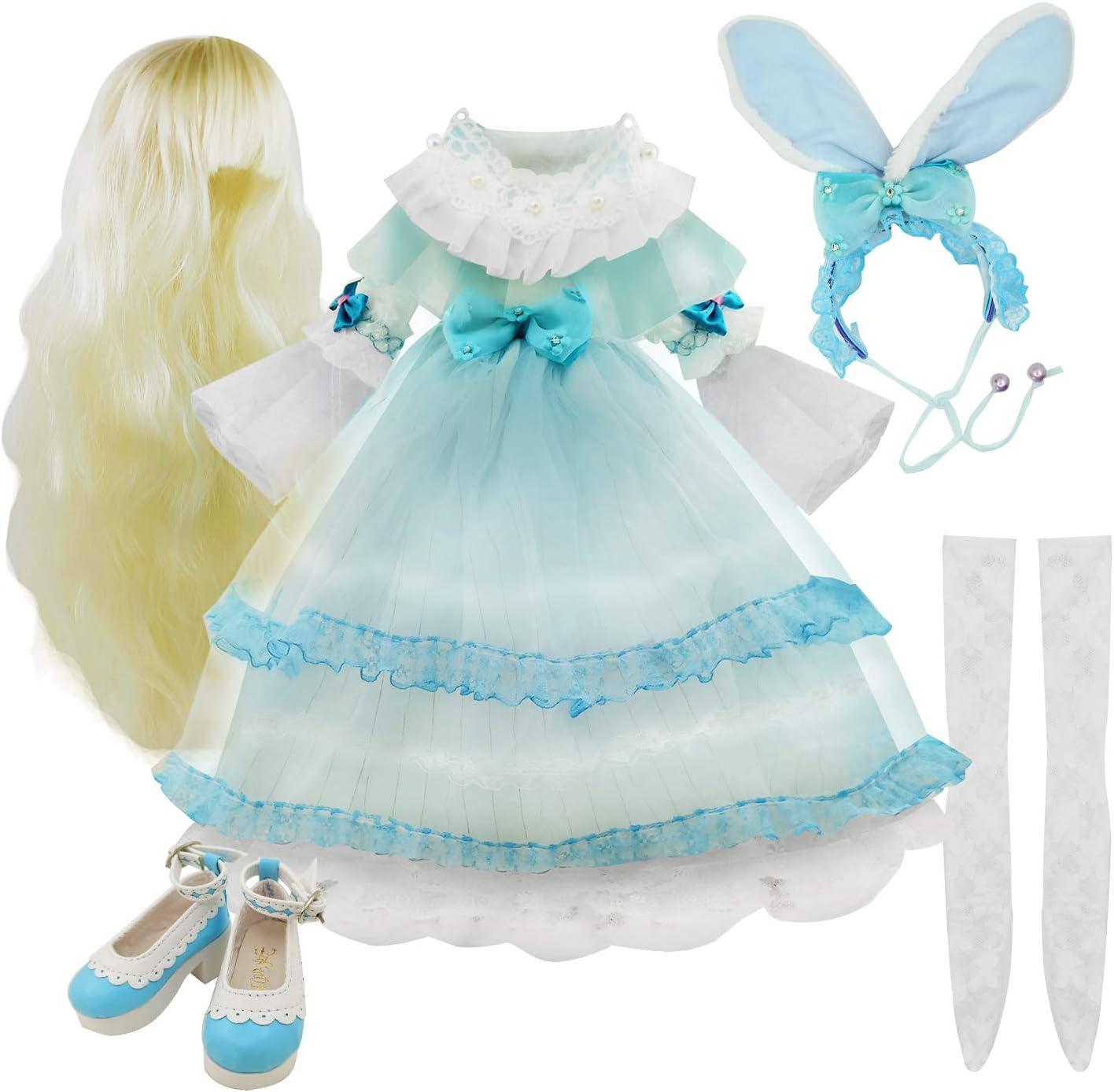 EVA BJD Dolls' Skirt Wig Shoes Socks Accessories Full Set for 20-23inch 1/3 60cm BJD Doll (Rona)