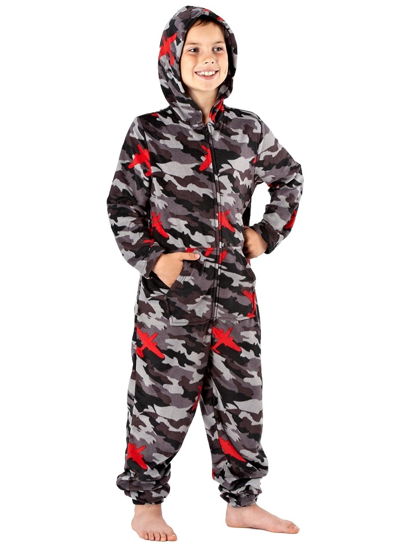 Boys Camo and Comic Book Hooded Warm Micro Fleece Onesies, Kangaroo Pocket On Front ONE07