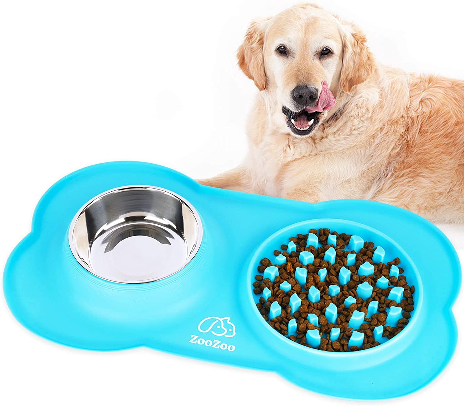 ZooZoo Large Slow Feeder Dog Bowl Mat Soft Silicone Stainless Steel Food Water Tray Prevent Bloat Choke Anti-Overflow Non-Skid Interactive Fun Cat Pet Accessory Healthy Diet Slow Eating Easy Clean Pad
