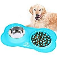 ZooZoo - Bandeja de silicona suave para perro con comedero lento para alimentos, de acero inoxidable, para evitar que se…