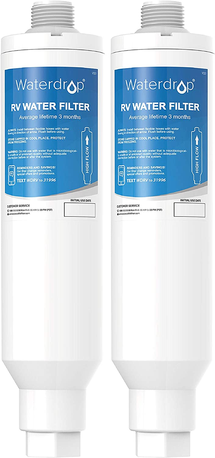 Waterdrop RV & Marine Inline Water Filter for Boats, RVs, Campers, Gardening, Planting, Trailer or Motor Home, Compatible with 40019/40042 KDF Filter (Pack of 2)