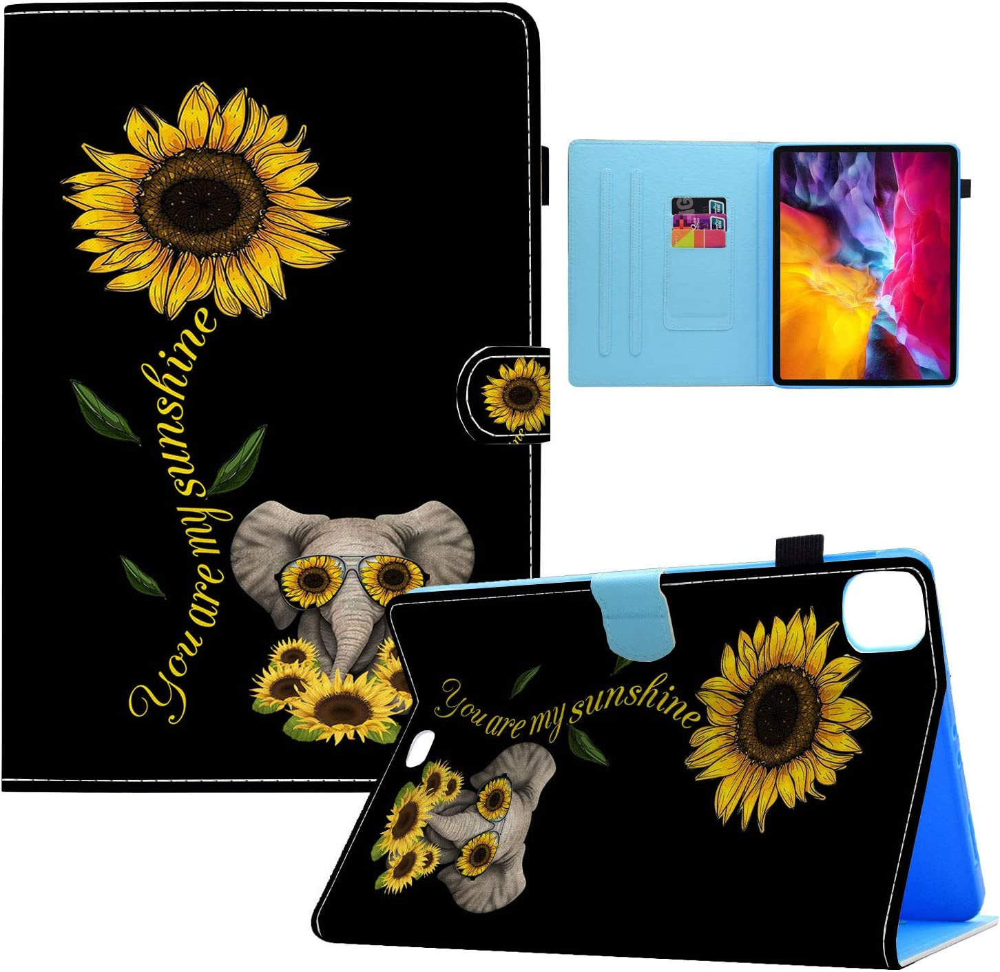 iPad Air 4 Case (4th Generation, 2020 Release),Sunflower and Cute Elephant Pattern Wallet PU Leather Stand Folio Slim Smart with Auto Sleep/Wake Case Cover for Apple iPad Air 4 10.9 Inch