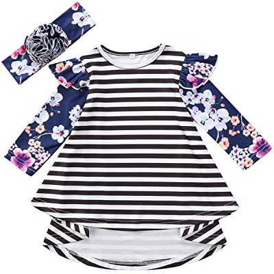 Annvivi Little Kids Baby Girl Floral Fly Long Sleeve Striped Dusty Dress with Headband