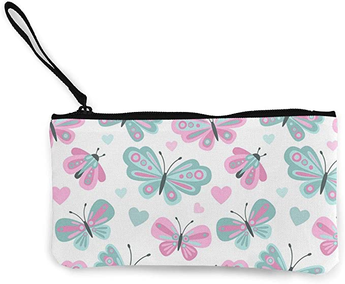 Billetera, Monederos, Light-Blue-Polka-Dot Cute Canvas Change Cash Coin Purse, Make Up Bag, Cellphone Bag with Handle Wallet Bag Change Pouch: Amazon.es: Equipaje