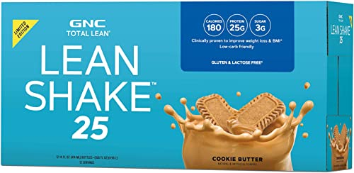 GNC Total Lean Lean Shake 25 to Go Bottles California Only – Cookie Butter, 12 Pack, Low-Carb Protein Shake to Improve Weight Loss