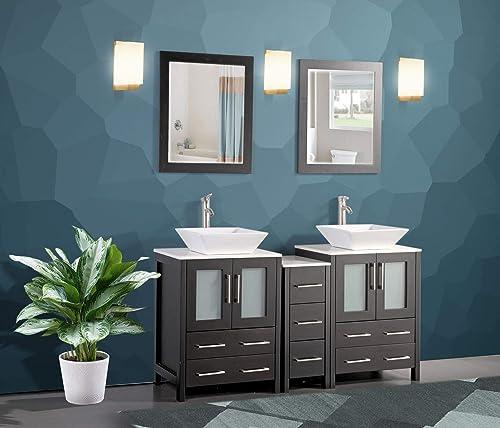 Vanity Art 60 Inch Double Sink Bathroom Vanity Compact Set 3 Cabinets 2 Shelves 7 Drawers Quartz Top and Ceramic Vessel Sink Bathroom Cabinet