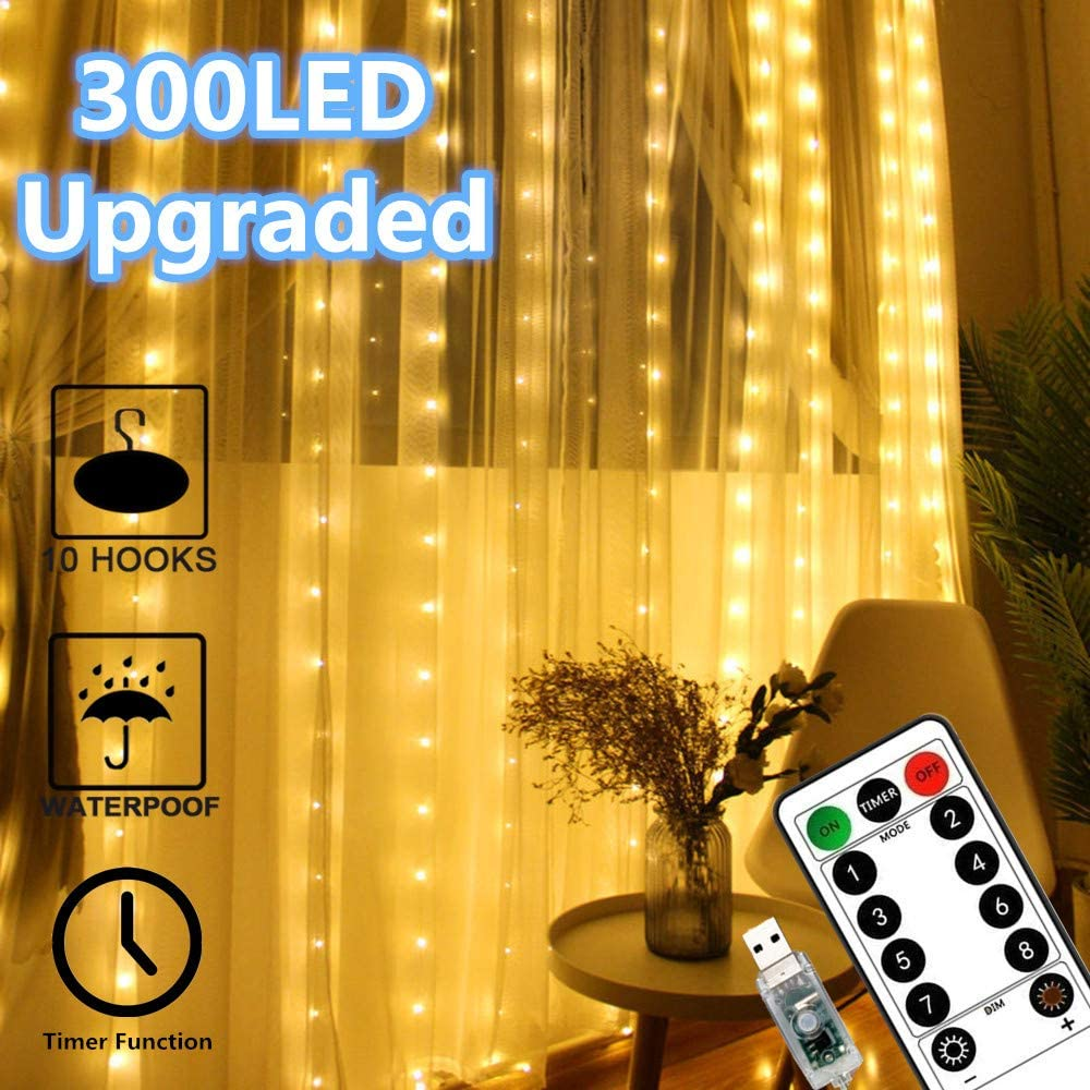 Chinety Window Curtain Lights 300 LED Upgraded Bigger Bulbs USB Plug in Fairy Lights 8 Modes Remote Control Curtain String Lights Waterproof LED Fairy Lights for Party Bedroom Home Decor (Warm White)