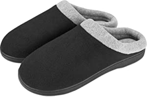 Puricon Men's Slippers, Soft Cozy Comfortable Memory Foam Non-Slip Autumn Winter Indoor Slippers Breathable House Shoes for Men -Black